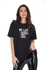 Black My Life Slogan T-Shirt