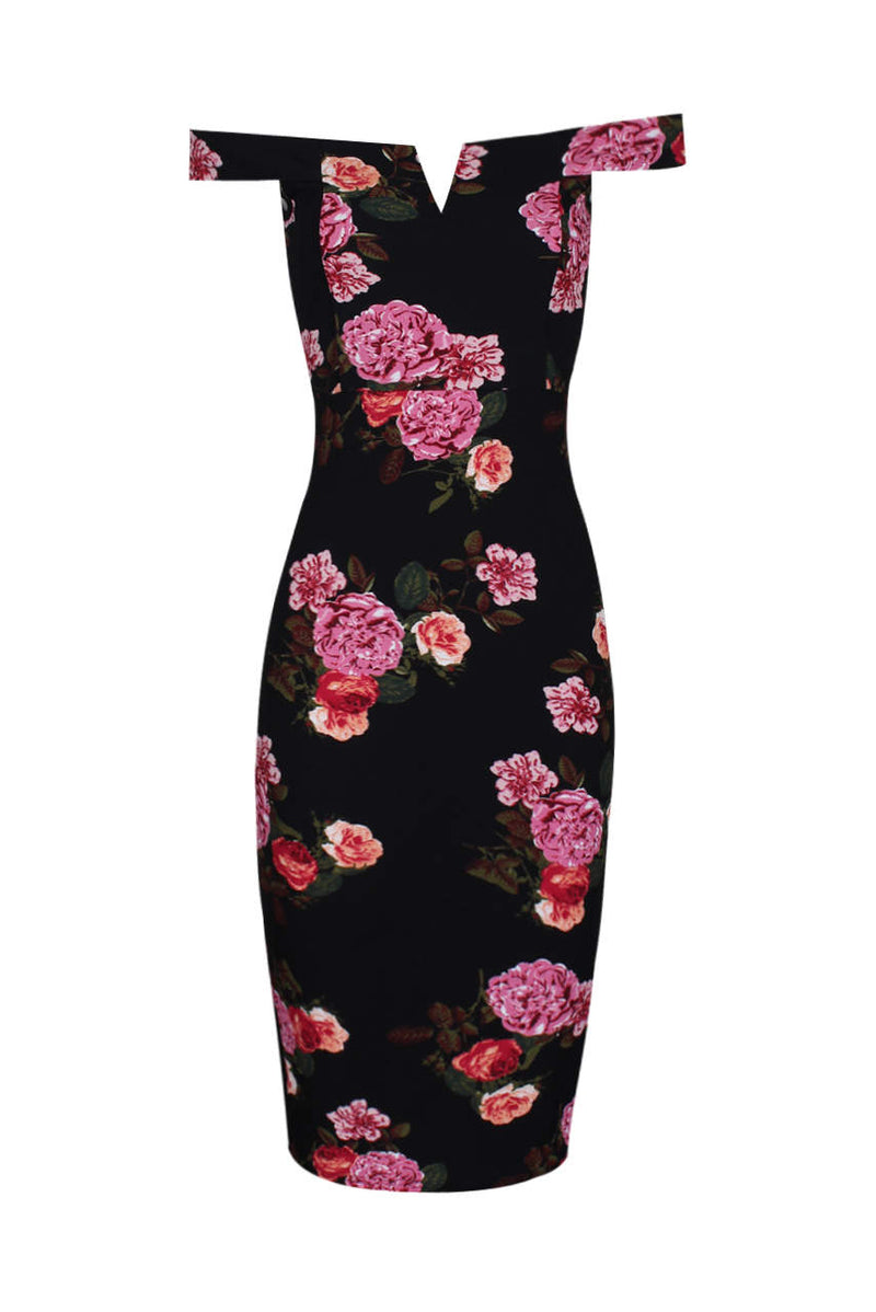 Black Notch Front Off The Shoulder Floral Midi Dress
