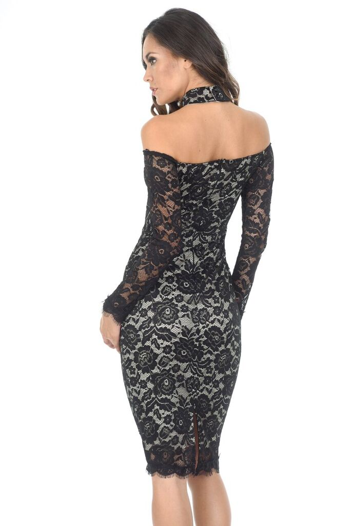 Black/Nude Lace Choker Midi Dress