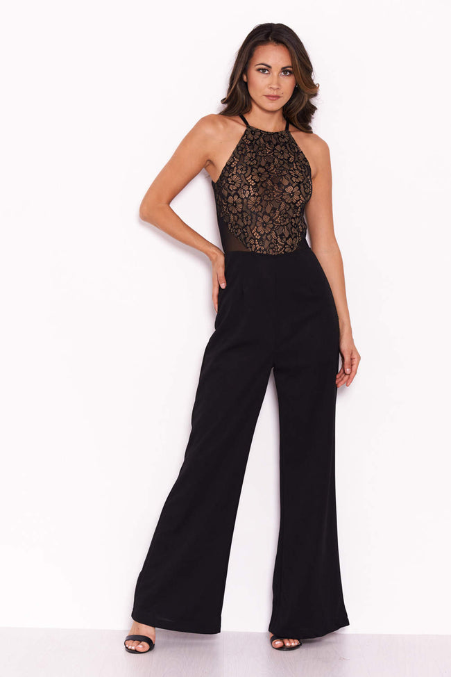 Black Nude Lace Halter Neck Straight Leg Jumpsuit