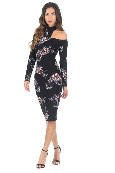 Black Off The Shoulder Floral Midi Bodycon Dress