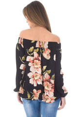 Black Off The Shoulder Floral Top With Elastic Shoulder Detail