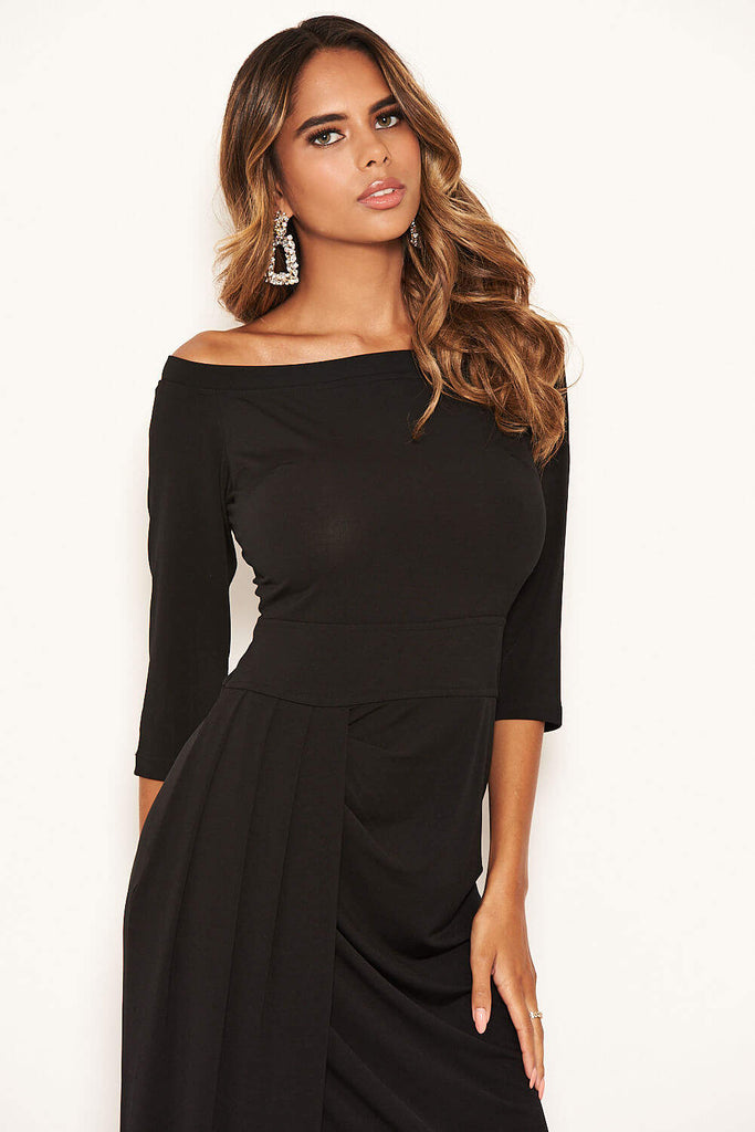 Black Off The Shoulder Slit Maxi Dress