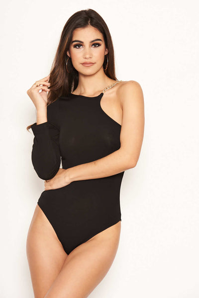 Black One Shoulder Bodysuit with Gold Detailing