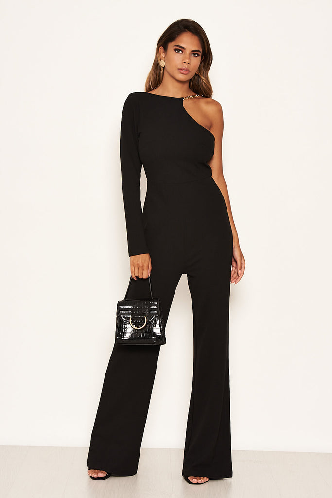 Black One Shoulder Jumpsuit With Chain Detail