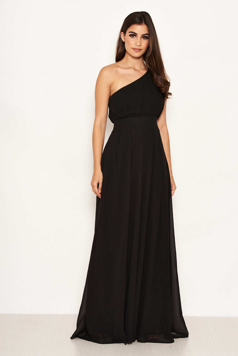 Black One Shoulder Pleated Maxi Dress