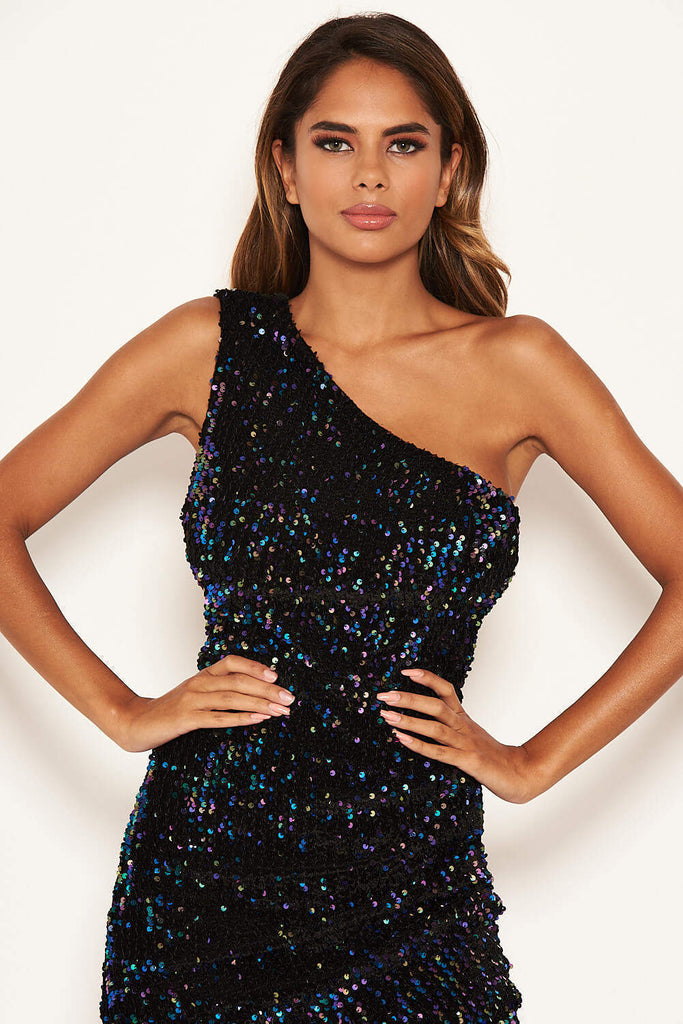 Black One Shoulder Sparkle Cross Mini Dress