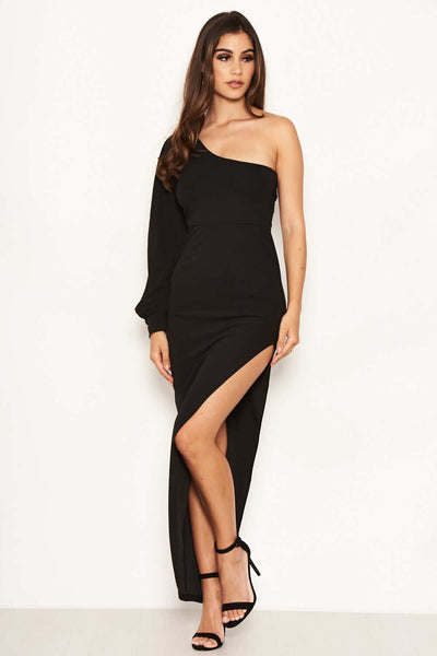 Black One Sleeve Asymmetrical Bodycon Maxi Dress