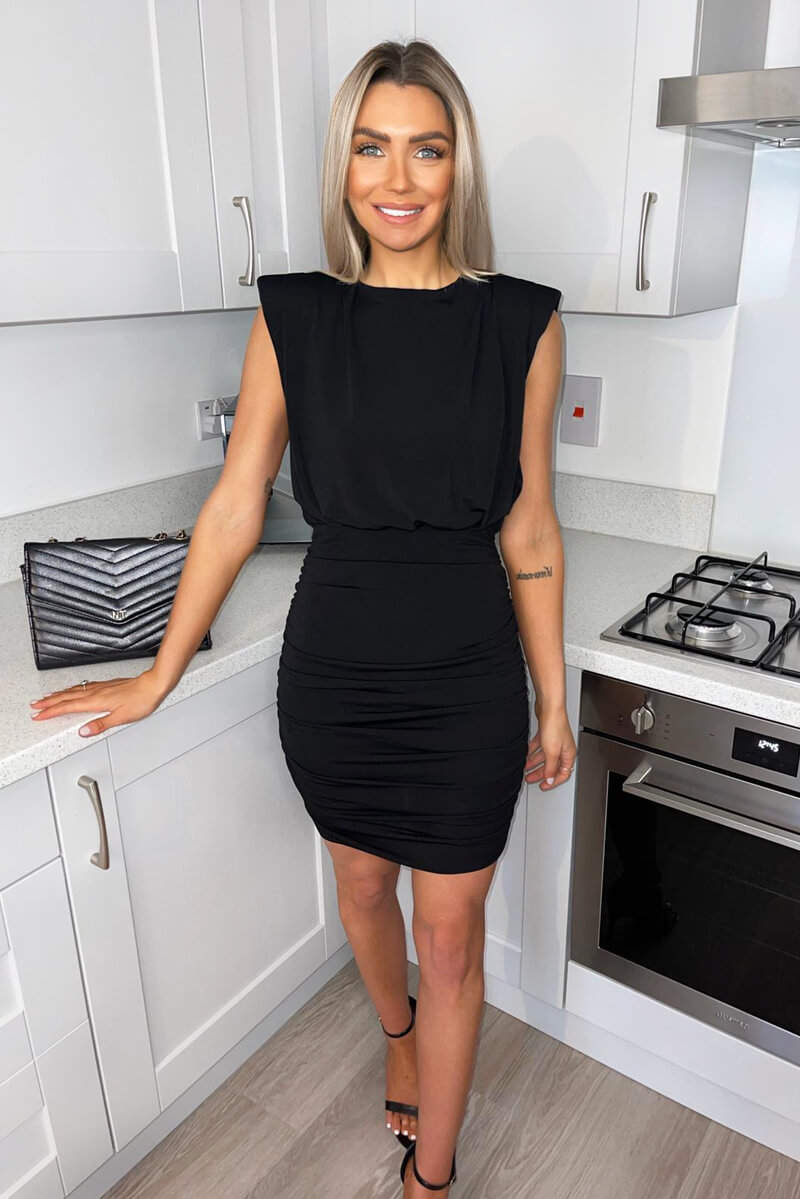 Black Padded Shoulder Ruched Bodycon Dress