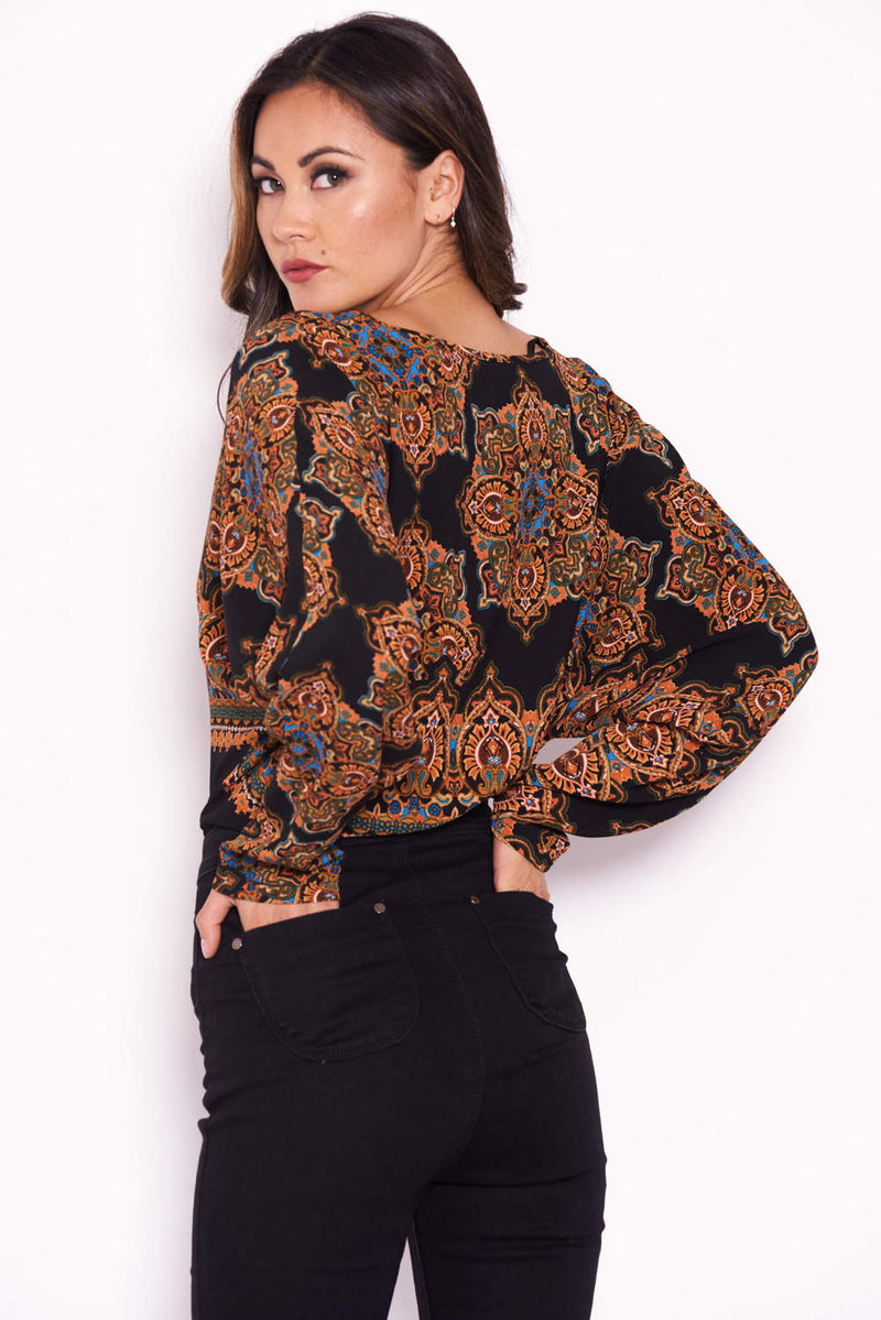Black Paisley Long Sleeved Bodysuit