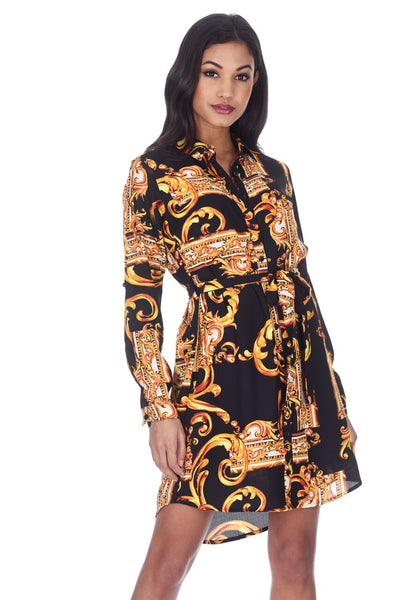 Black Patterned Shirt Dress