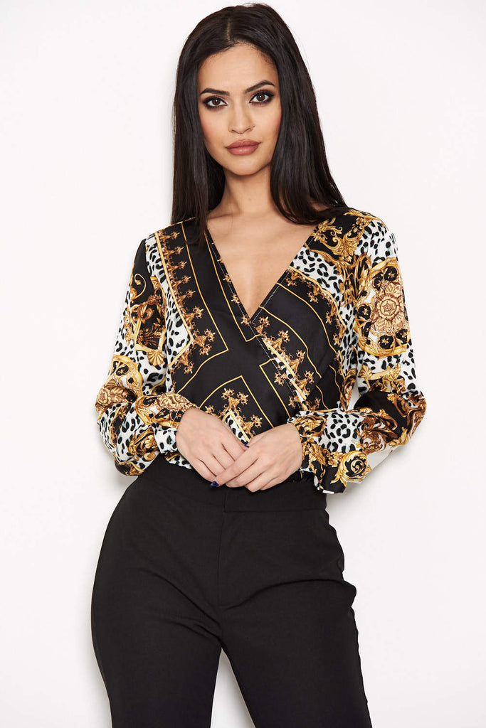 Black Printed Wrap Bodysuit