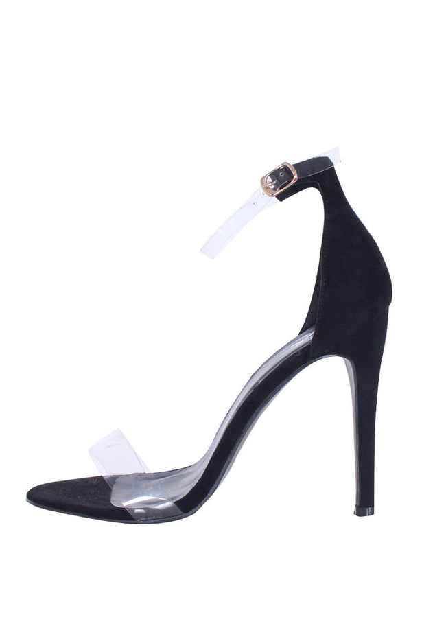 Black Perspex Strap Stilletto Heels