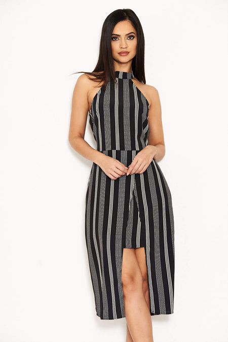 Black Backless Fishtail Midi Dress