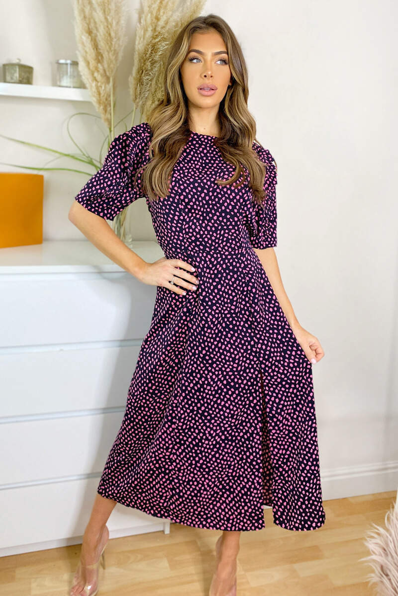 Black and Pink Dot Pleat Sleeve Split Midi Dress