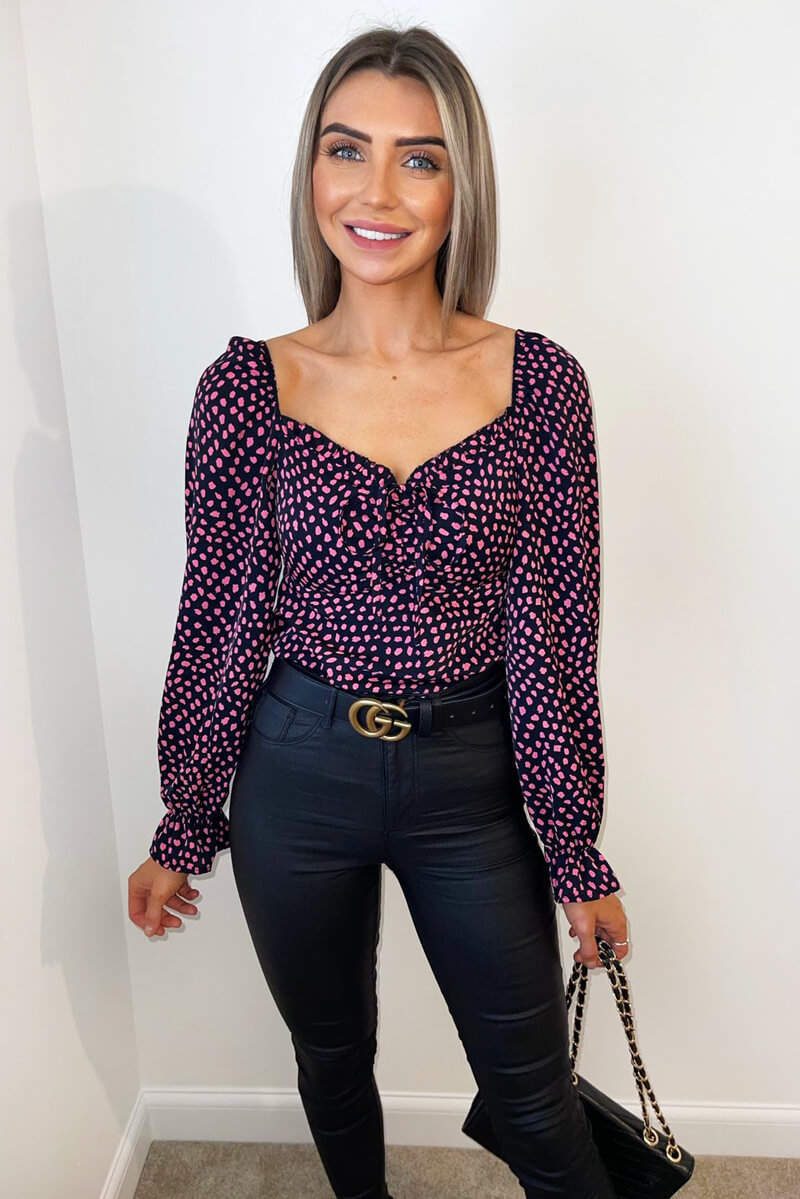 Black Pink Spotted Milkmaid Long Sleeve Top
