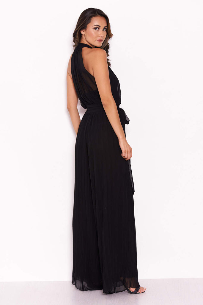Black Pleated Choker Neck Jumpsuit