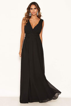 Black Pleated V Neck Maxi Dress