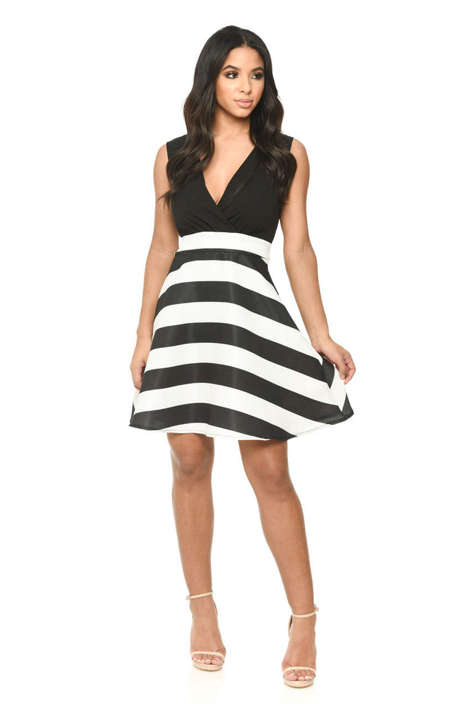 Black Plunge Skater Dress With Striped Print