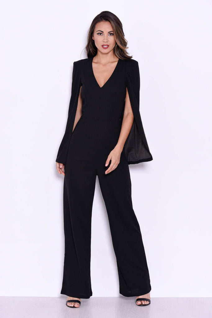 Black Plunge Wide Leg Jumpsuit