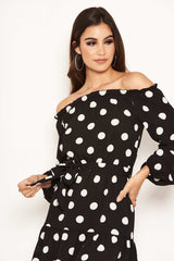Black Polka Dot Bardot Ruffle Dress