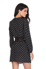 Black Polka Dot Crochet Waist Skater Dress