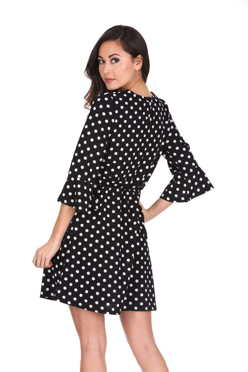 Black Polka Dot Long Sleeve Skater Dress