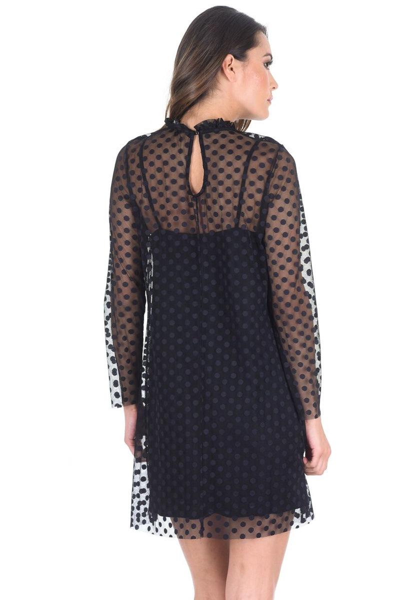 Black Polka Dot Mesh Dress