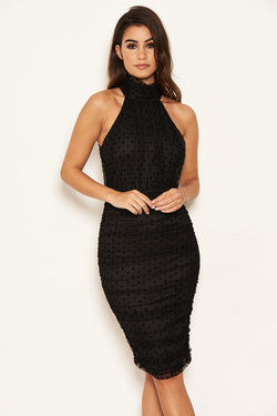 Black Polka Dot Mesh High Neck Ruched Dress