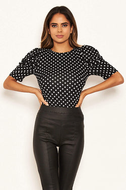 Black Polka Dot Ruched Sleeve Bodysuit