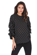 Black Polka Dot Ruffle Sleeve Top