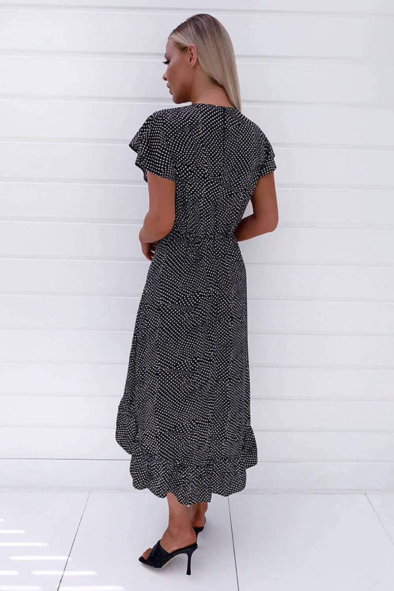 Black Polka Dot Ruffle Wrap Midi Dress