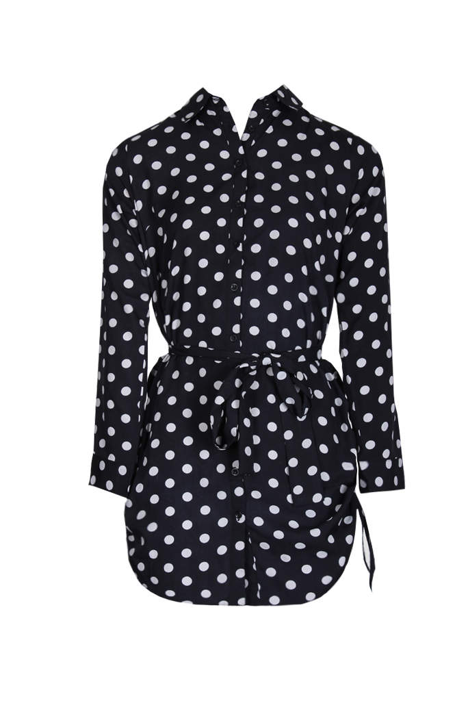 Black Polka Dot Shirt Dress