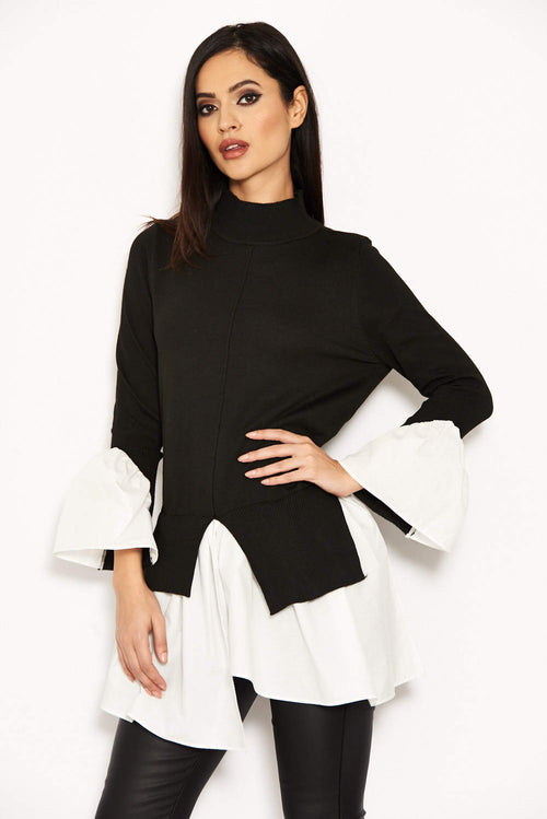 Black Polo Neck Shirt Jumper Tunic