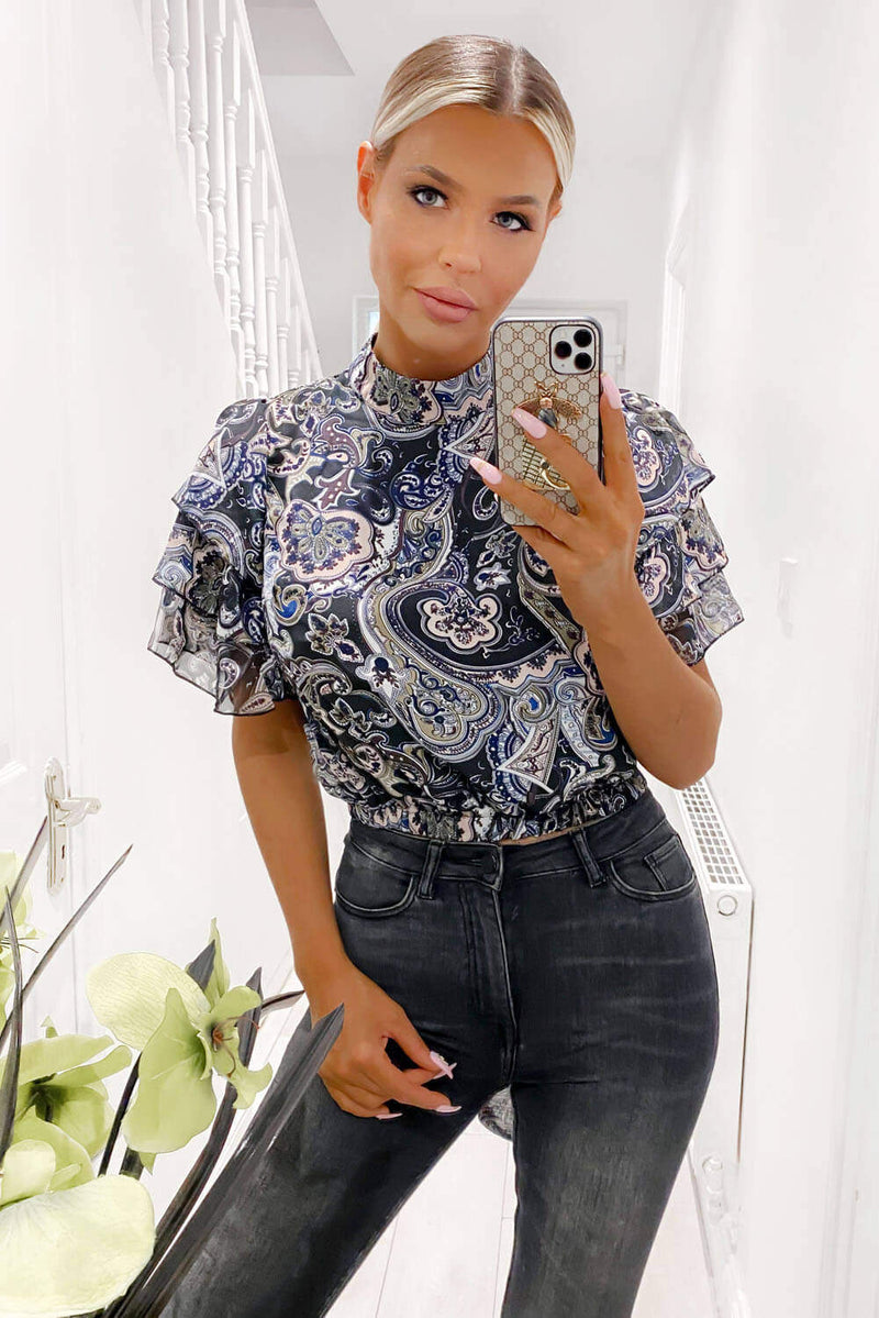Black Printed Frill Sleeve Crop Top