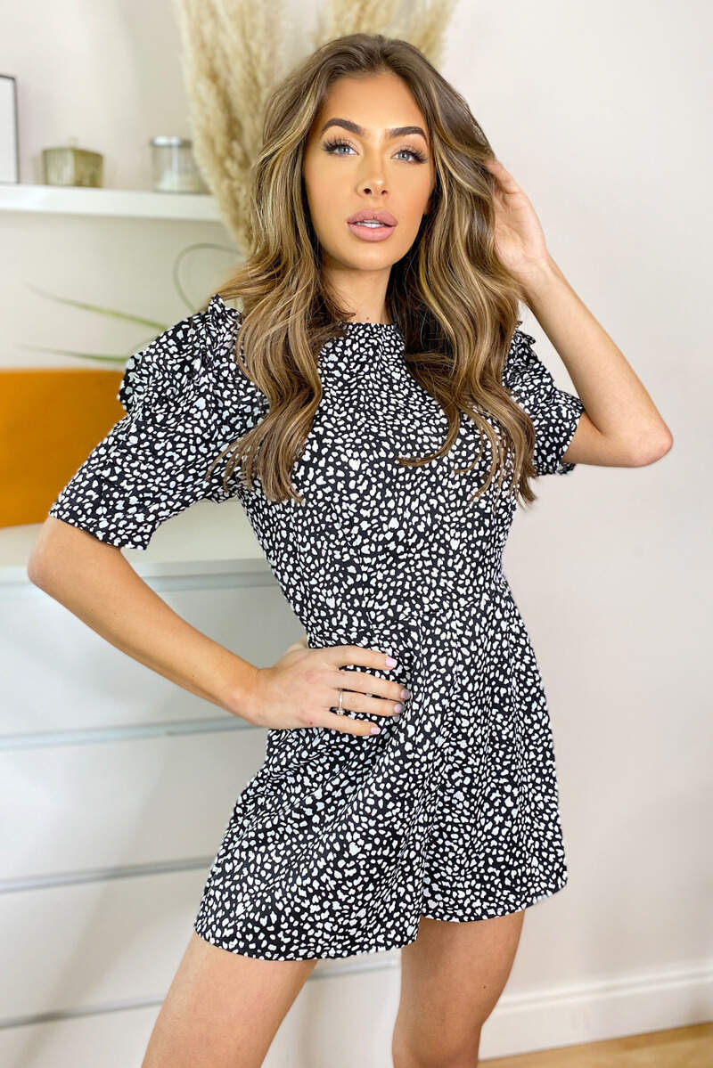 Black Printed Short Frill Sleeve Playsuit