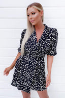 Black Printed Wrap Tie Dress
