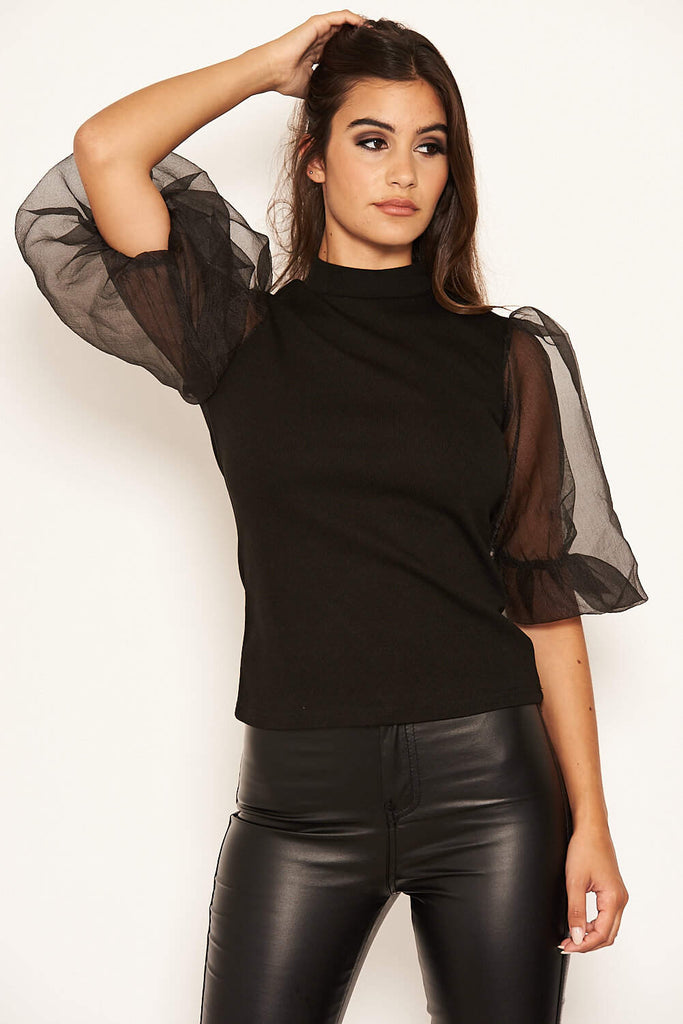 Black Puff Sleeve Knitted Top