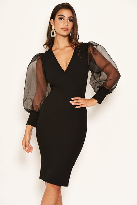 Black 2 In 1 One Sleeve Frill Hem Dress