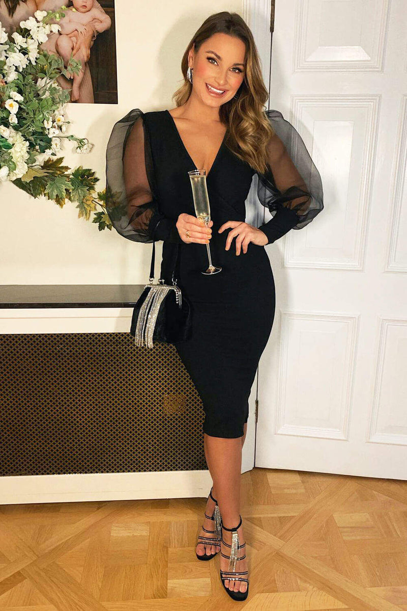 Black Puff Sleeve Midi Dress