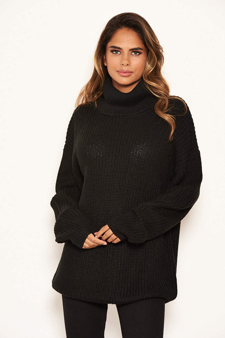 Wine Roll Neck Knit Jumper