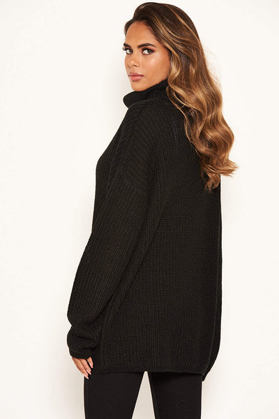 Black Roll Neck Knit Jumper