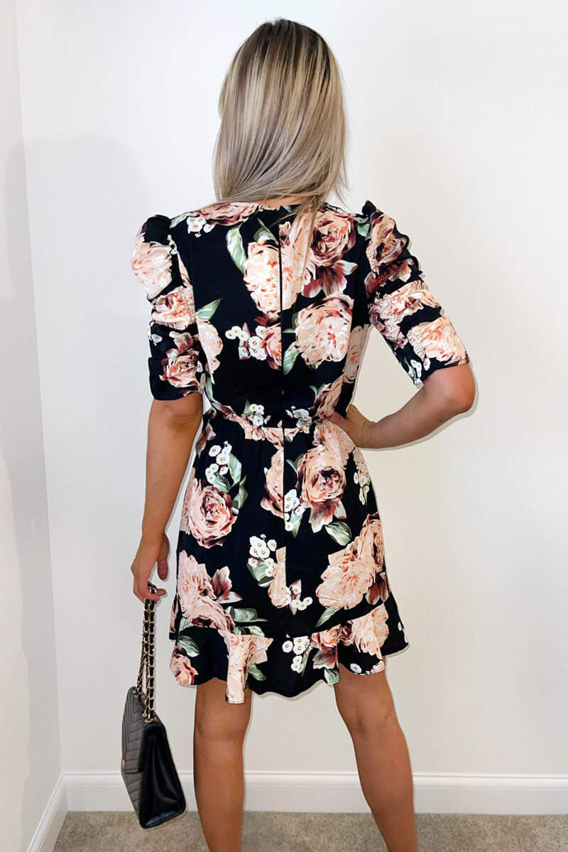 Black Rose Print Ruched Sleeve Wrap Dress