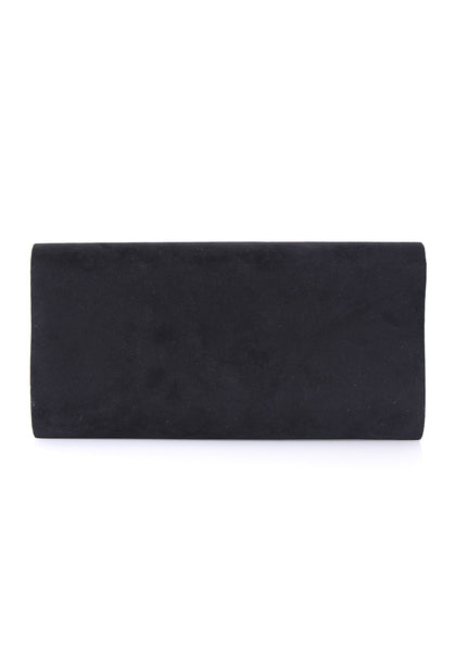Black Rounded Clutch with Silver Detail