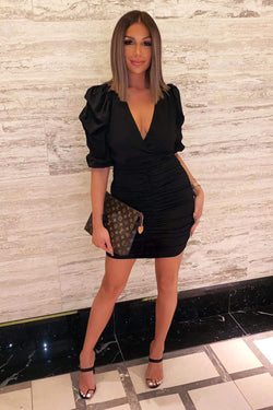Black Ruched Bodycon Dress With Cut Out Back