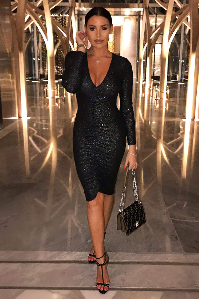 Black Ruched Front Sparkle Dress
