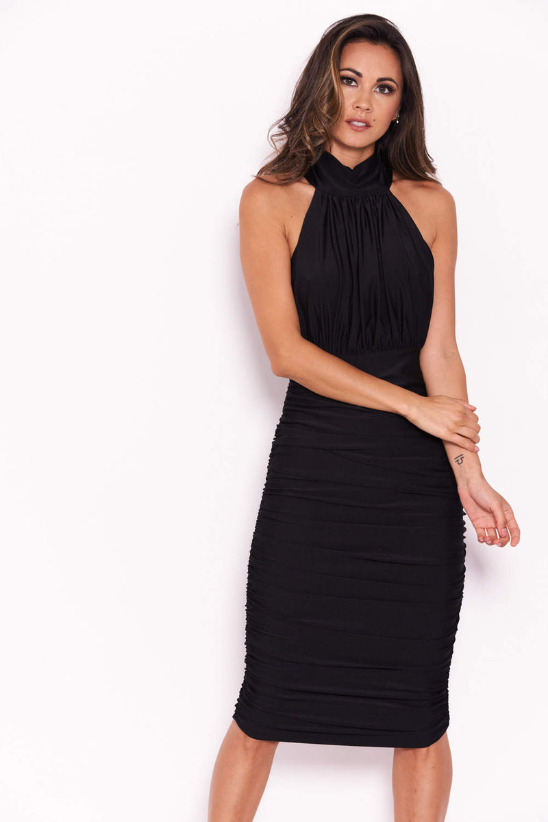 Black Ruched Halterneck Slinky Bodycon Dress