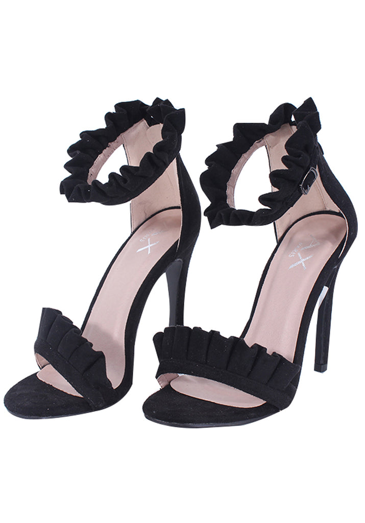Black Ruffle Detail Stilletto Heels