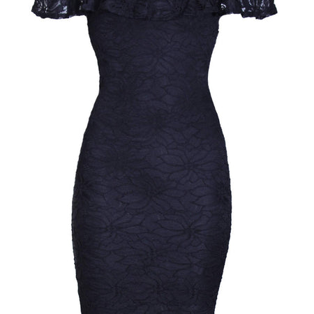 Black Ruffled Off The Shoulder Lace Midi Dress