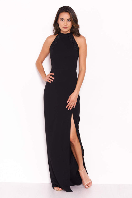Black Sequin Panel Detailing Maxi Dress With Thigh Split